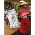 A robot with a robot mask..