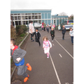 We ran 7 laps of the school.