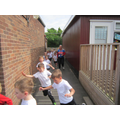 We ran a mile around the school during Sports Week