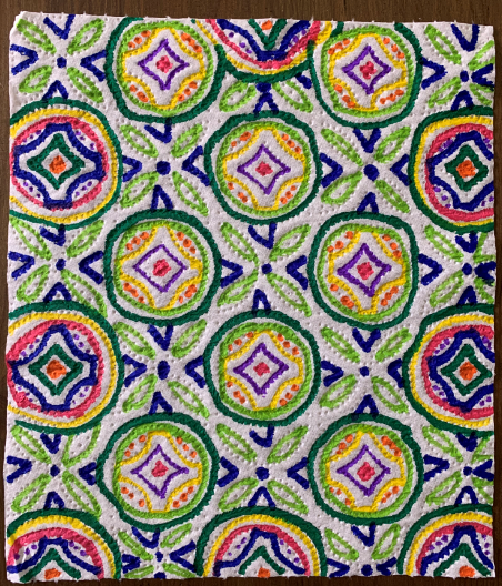 Olivia's mindfulness colouring on kitchen roll!