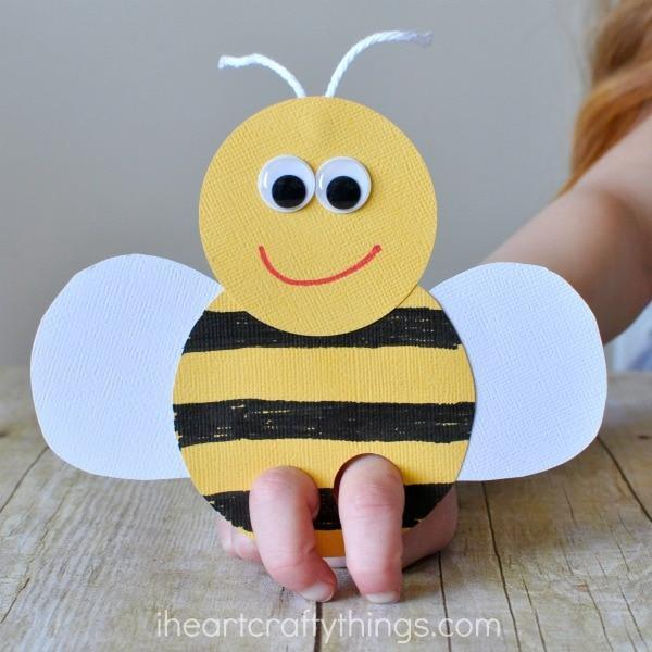 Finished bee puppet