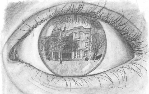 Draw the setting in an eye
