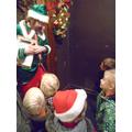 Jingle the elf met us at the magical door.