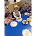 We liked making and eating vegetable spring rolls.
