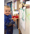Painting on the easels