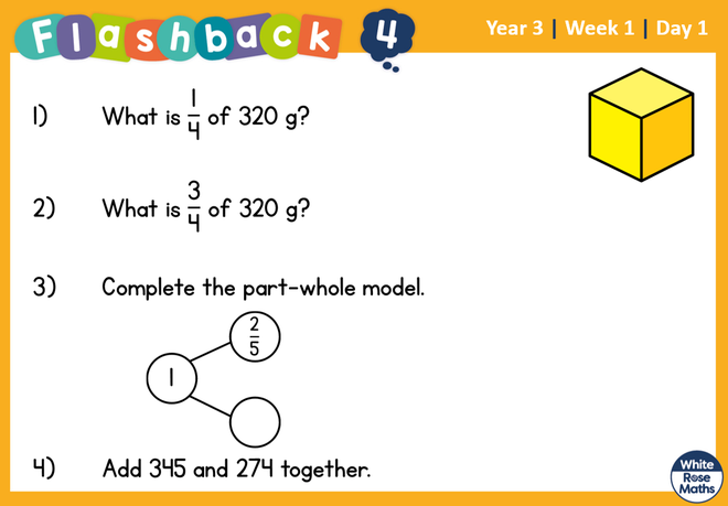 Remember, to find 1/4 you can half then half the number again. When finding 3/4 you would find 1/4 and then add three of these groups together.