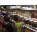 Looking at the produce at the Farm Shop