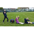 Spelling 'hole' with our bodies.