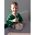 We mixed the porridge carefully.
