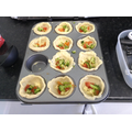 Mini quiches ready to go into the oven!
