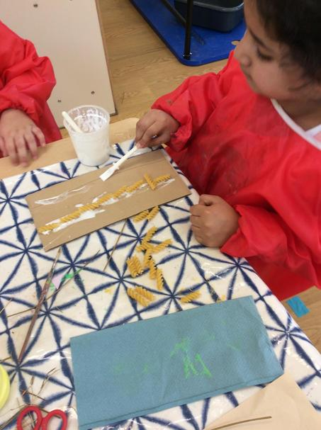 We used pasta to make long wavy lines!