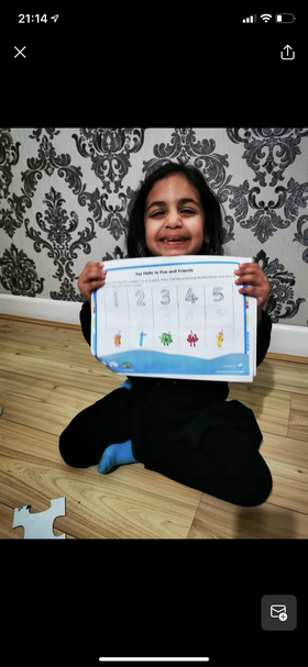 Hibbah Ahmed has been working so hard on her number block work ⭐️
