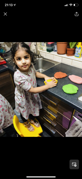 Inaya has made her own playdough! I love the colours!