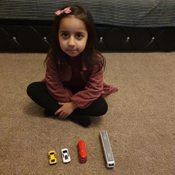 Zahraa can order her toys by size! Very clever well done!