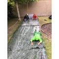 After a good few goes, the children came up with new ways to slide down!