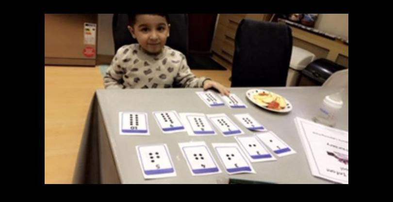 Moiz Bilal has been using his number flash cards to help him with his learning.