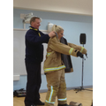 Mrs Hutchinson dressed up as a firewoman!