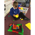 Using the Duplo to make a car garage