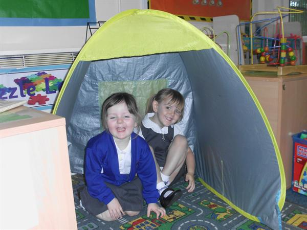 Beth & Emily made a den in the tent.