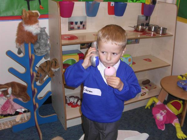 Kieran had a lovely chat with mummy on the phone