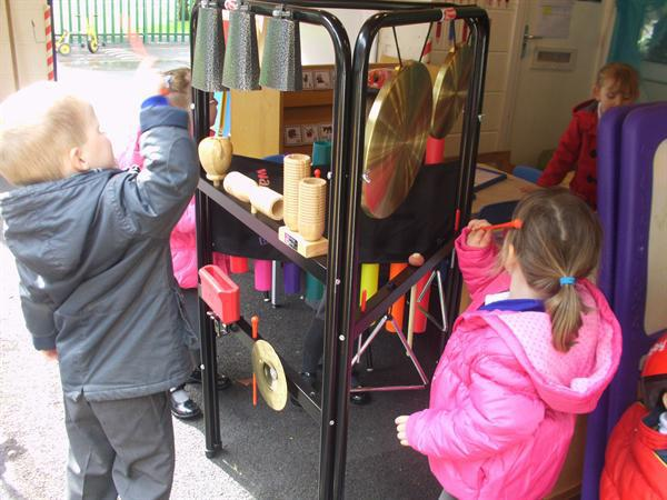 We enjoyed playing with the musical instruments.