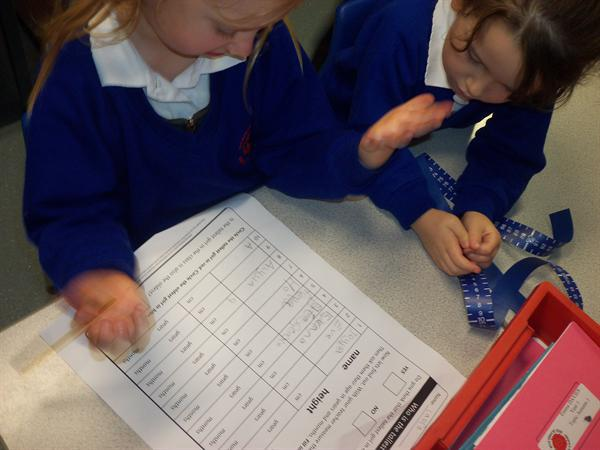 Measuring for our science experiment