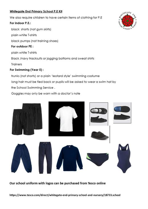 P.E  and swimming kit