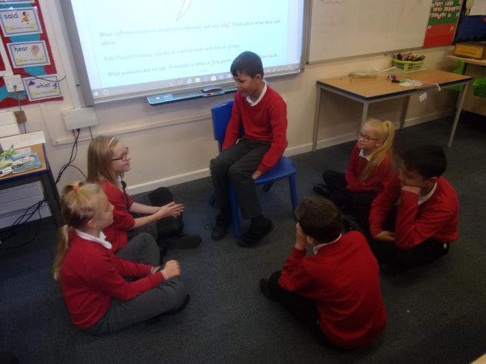 The children asked questions in role.