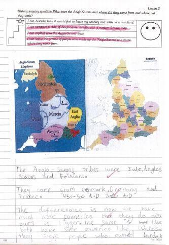 Enquiry work investigating where the Anglo Saxons came from