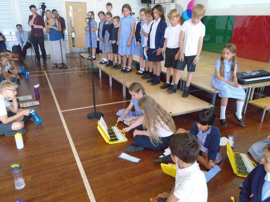 Performing our harmonies.