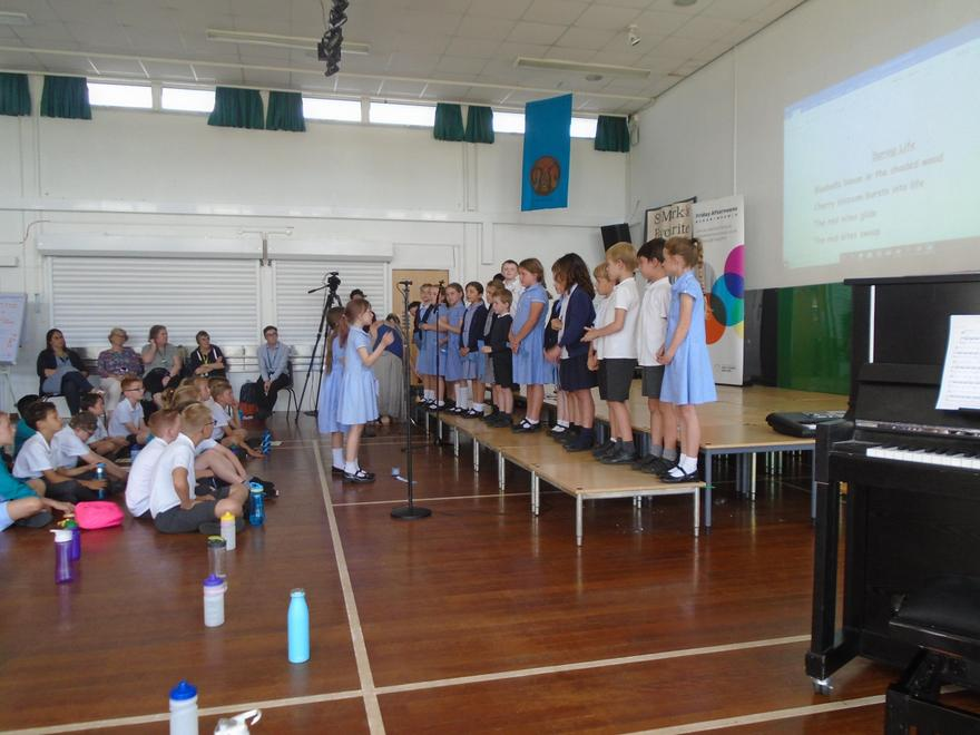 Performing the song we composed as a class.