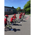 Children on the balance bikes