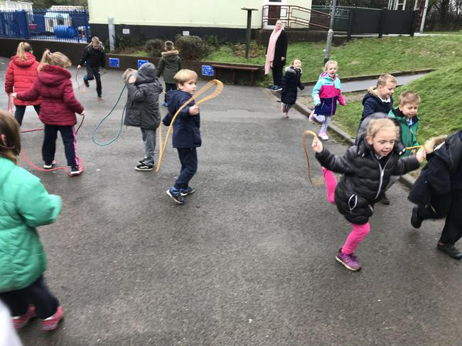 We had fun skipping with our skipping ropes!