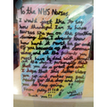 Polly's letter for the NHS displayed in hospital.