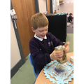 We loved the glittery Christmas crafts