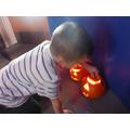 We loved carving and lighting pumpkins
