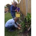 Tomas and Leonard, egg hunting