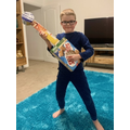 Jude's guitar from a cereal box