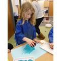 We enjoyed printing using snowflake stamps