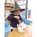 We made spooky potions with slime and worms