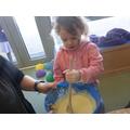 We enjoyed making pancakes