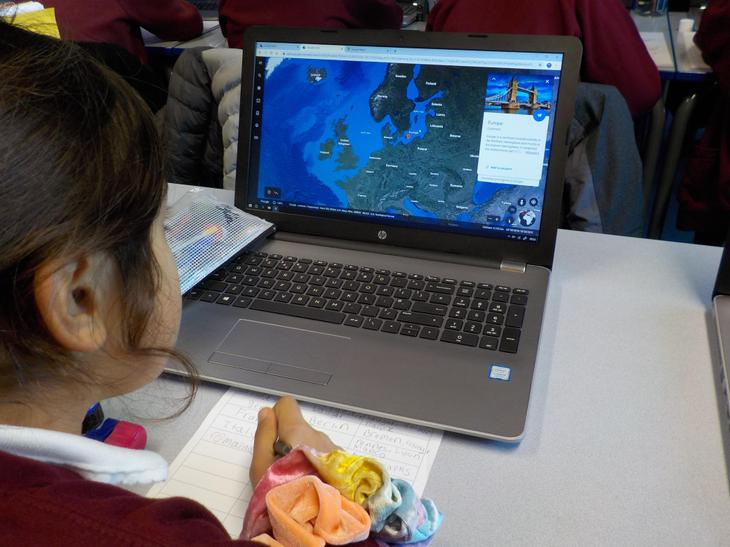We used digital maps to located European capital cities and famous landmarks.