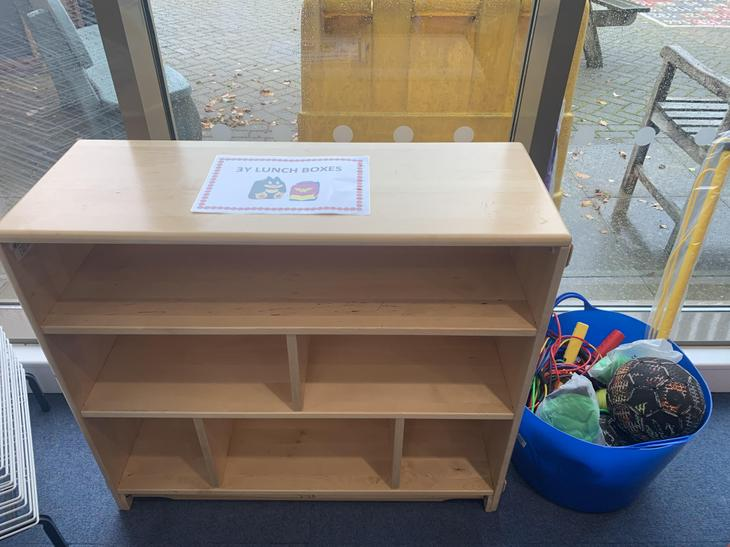 We will put our lunch boxes here, outside 3Y.