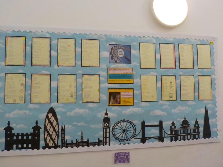 Our extended writing display based on the novel The London Eye Mystery.