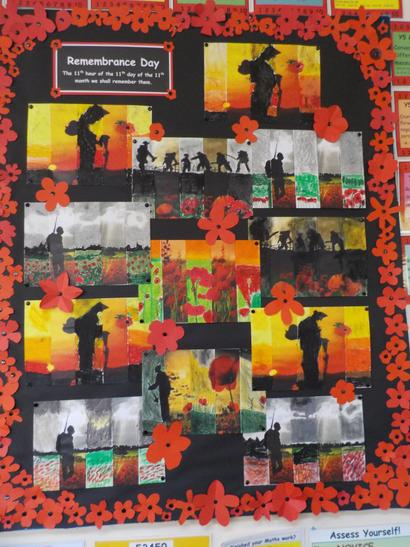 We used oil pastels to create effects for our Remembrance Day display.