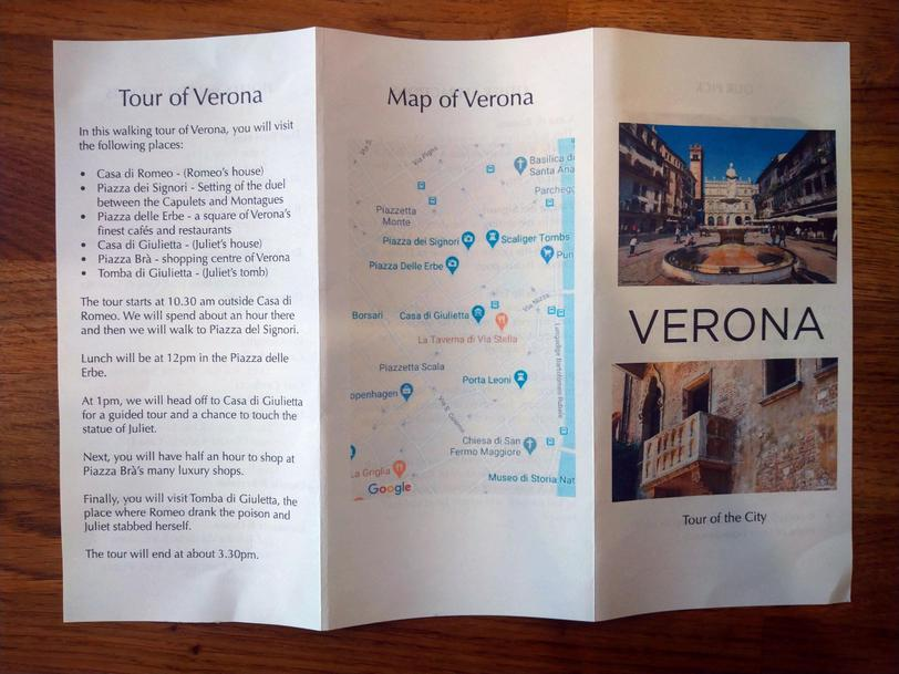 Stuart's creative leaflet of Verona