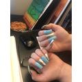 Frankie's DIY nails! Gorgeous colours!