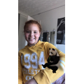 Evie with her virtual pet panda!