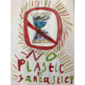 "Noah's powerful poster ""no plastic is fantastic'"