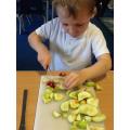 Carefully chopping